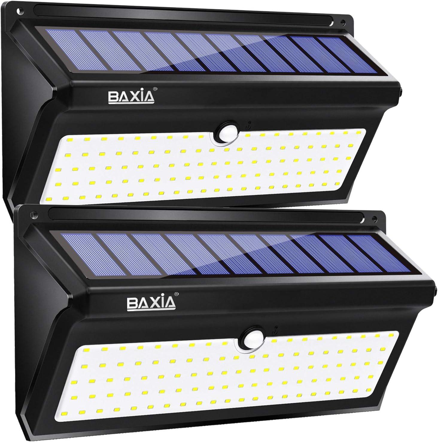 BAXiA 2000LM Luz Solar Exterior, 2400mAh Luz Solar Exterior con Resistencia al agua IP65, Foco Solar Exterior con Sensor de Movimiento para Jardín Porche Calzada Patio, 100 LED, 2 Piezas