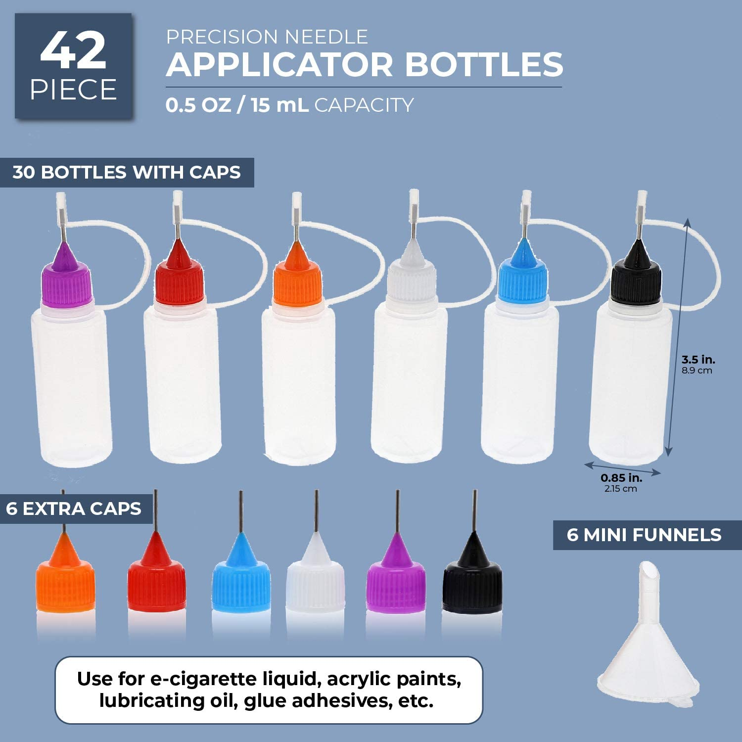Bright Creations 42 Piece Kit Precision Needle Tip Clear Mini Applicator Bottles