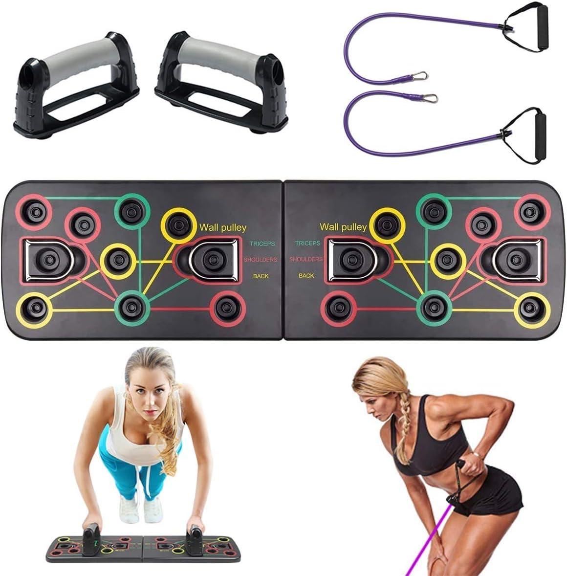 Minetom Tablero para Flexiones Multifuncional Push Up Board System Gym Grizzly Tilt Board con Banda de Goma