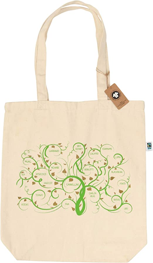 Bolsa de algodón orgánico con diseño de habas: Amazon.es: Hogar