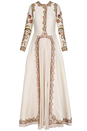 Off White Front Open Layered Gown at Amazon Women\'s Clothing store: