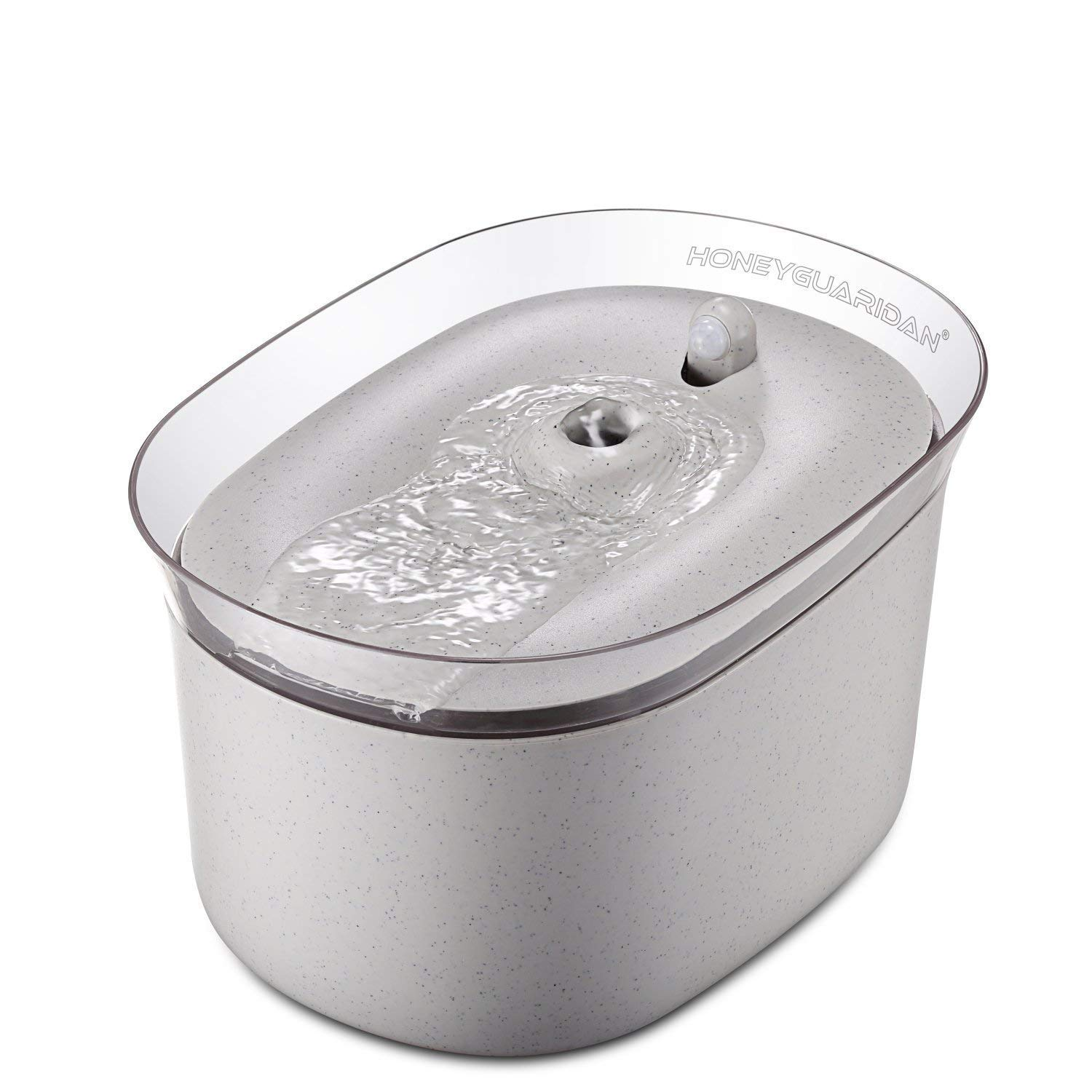 HoneyGuaridan Pet Drinking Water Fountain, 2.5L Super Quiet Automatic Cat Water Bowl with 3 Replacement Filters for Dogs, Cats, Birds and Small Animals