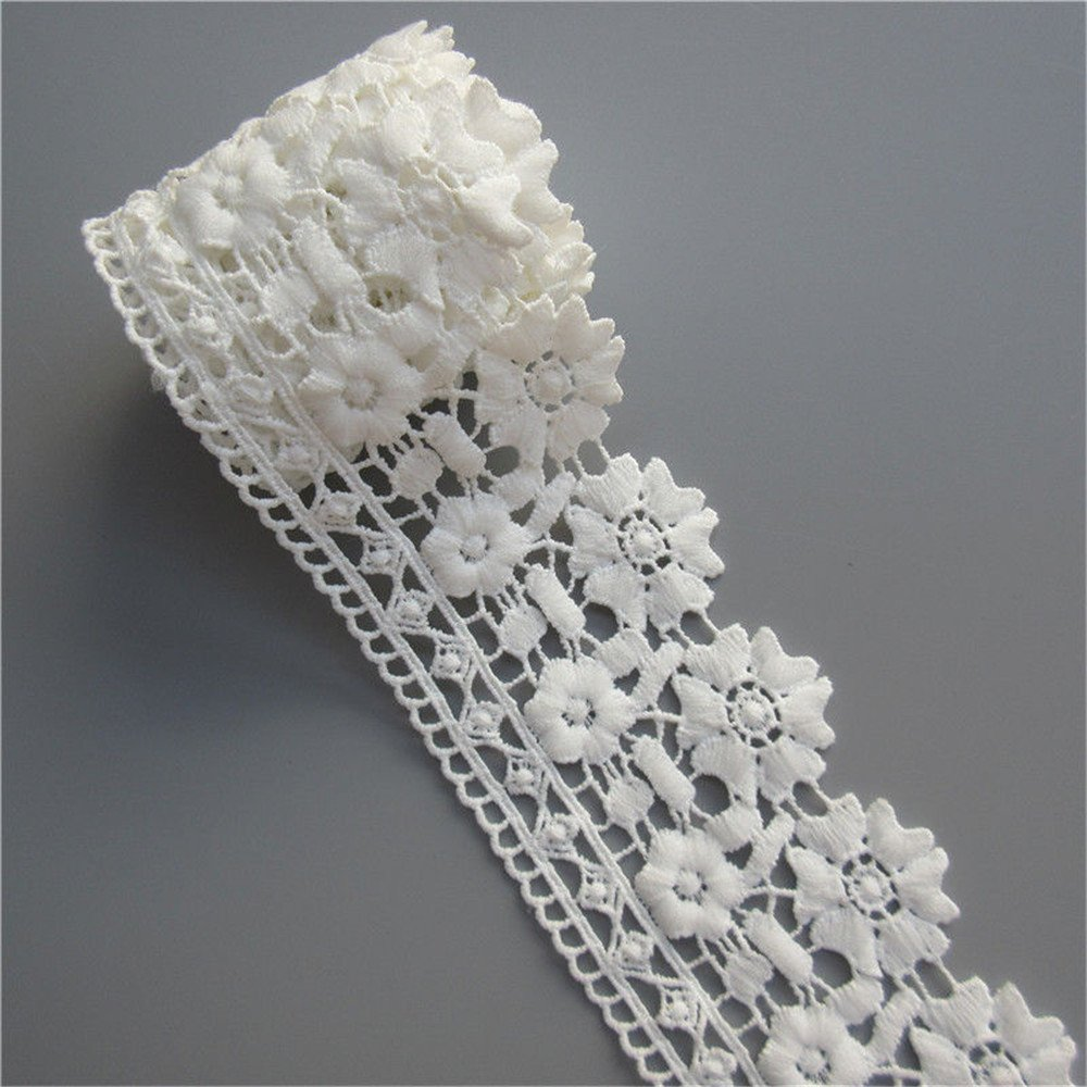 2 Meters Cotton Lace Edge Trim Ribbon 7 cm Width Vintage Style Ivory Trimmings Fabric Embroidered Applique Sewing Craft Wedding Bridal Dress Embellishment DIY Party Decoration Clothes Embroidery Qiuda