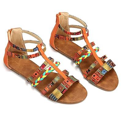 54d15288d233b Camfosy Summer Sandals Women Flat Gladiator Strappy Sandals Ladies Slim  Flip Flops Colorful Roman Sandals Boho Beach Shoes Lightweight Ankle Strap  ...