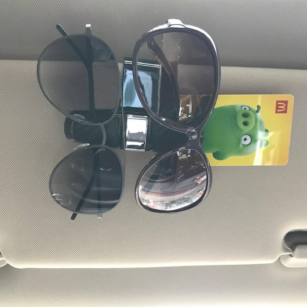 homEdge Sun Visor Clip Glasses Hanger Mount with Card Clip-Rose Car Sunglasses Clip 2 Packs Sunglasses Holder for Car Sun Visor