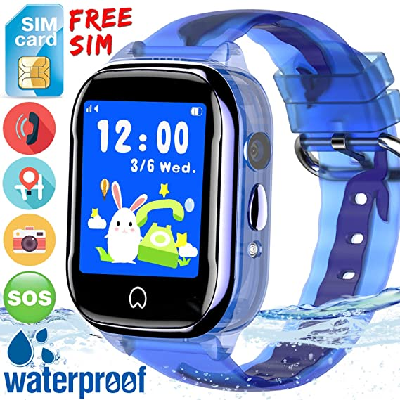 [SIM Card Included] Kids Smart Watch Phone IP67 Waterproof GPS Tracker for Boys Girls with 1.5