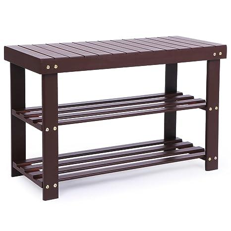 Superbe BEWISHOME Bamboo Shoe Rack Bench, 2 Tier Hallway Shoe Storage Bench,Shoe  Shelf