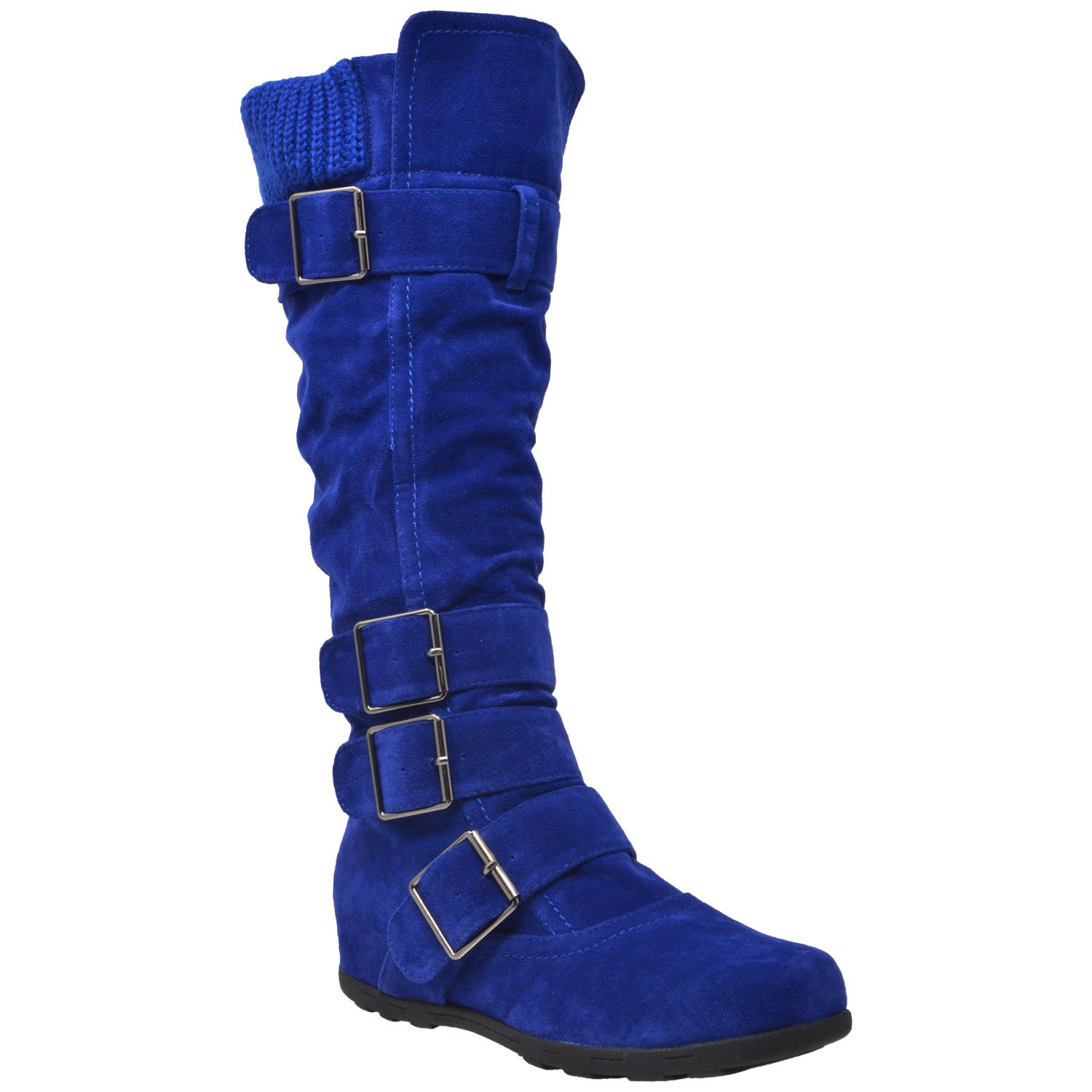 Generation Y Womens Knee High Boots Ruched Suede Knitted Calf Strappy Buckles Accent Royal Blue SZ 10