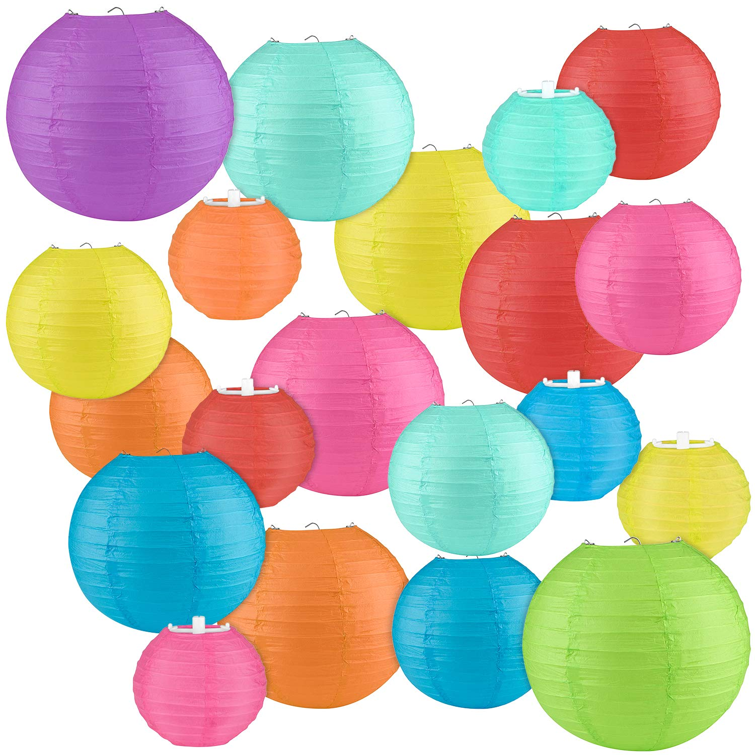 """20PCS Colorful Paper Lanterns-4"""", 6"""", 8"""", 10"""" Chinese/Japanese Paper Hanging Decorations for Home Decor, Parties, and Weddings."""