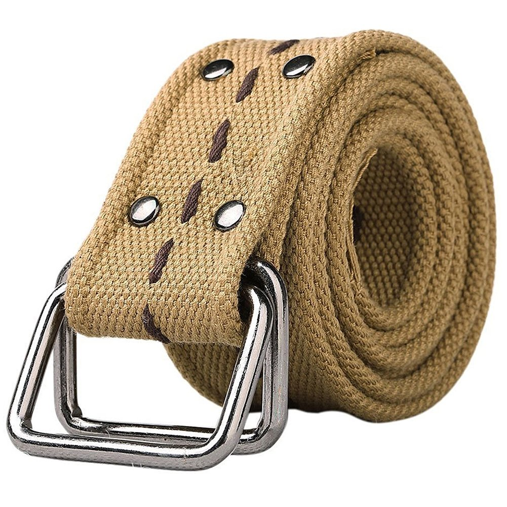Canvas Belt with D-Ring Buckle Khaki