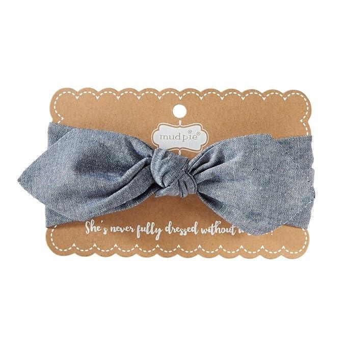 Mud Pie Baby Girl Navy   Chambray Soft Bow Headband - 1512215 (Chambray) eef0b4c0e91
