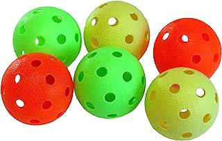 Kit de 6 balles de Floorball & Unihockey | Realstick | Couleur Mix | Balle de compétition + Balle d'entraînement certificat FIF pour une qualité contrôlée Tonnisport Oy