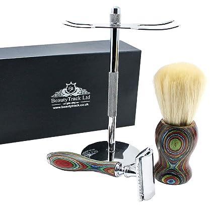 Vintage Pura Madera Afeitado Kit Para Hombres - Afeitadora de Peluquero -  Cuchilla Barbero - Maquinilla a7bbc732cf39