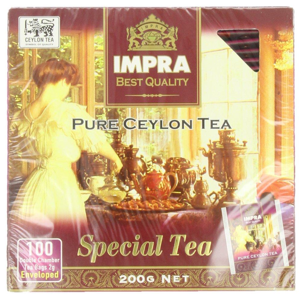 Impra Pure Ceylon Special Tea, 100-Count Tea Bags (Pack of 6)