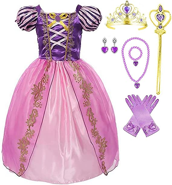 Amazon.com: Disfraz de princesa Rapunzel para niñas: Clothing
