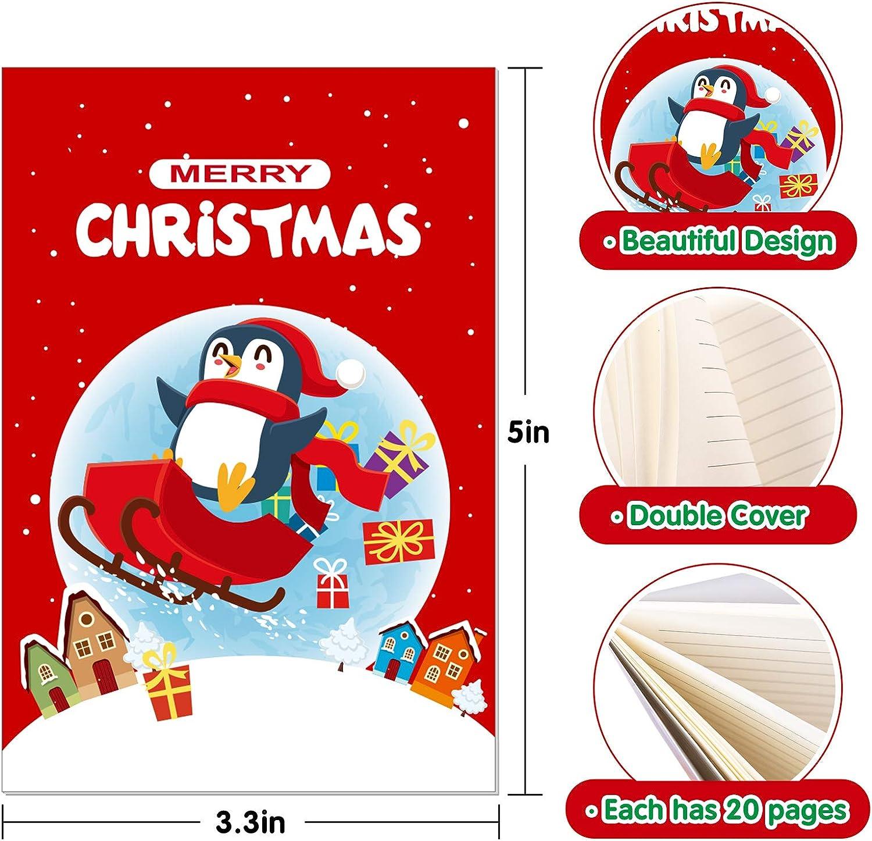 8,4 x 12,7 cm per feste di Natale e bomboniere Whaline per bambini per piccoli quaderni Mini taccuino natalizio a tema natalizio 24 pezzi