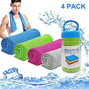 "MBLAI [4 Pack Cooling Towel, 40""x12"" Gym Towels for Men Women, Workout Towels for Instant Relief-Cool, Soft Breathable Chilly Microfiber Ice Towel for Yoga/Running/Other Fitness Activities"