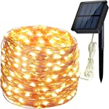 Solar String Lights, Hiluckey 200 LED 72ft Copper Wire Lights 8 Modes Waterproof IP65 Christmas Decorative Fairy Lights for Outdoor, Homes, Garden, Patio, Wedding, Party (Warm White)