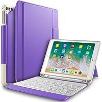IVSO Apple Nuevo iPad 9.7 pulgadas Caja de teclado inalámbrico, Ultra-Thin Stand Funda de teclado con ranura para lápiz para el nuevo iPad 9.7 2018/2017/iPad Pro 9.7/iPad Air 2/iPad Air Tablet (Púrpura)