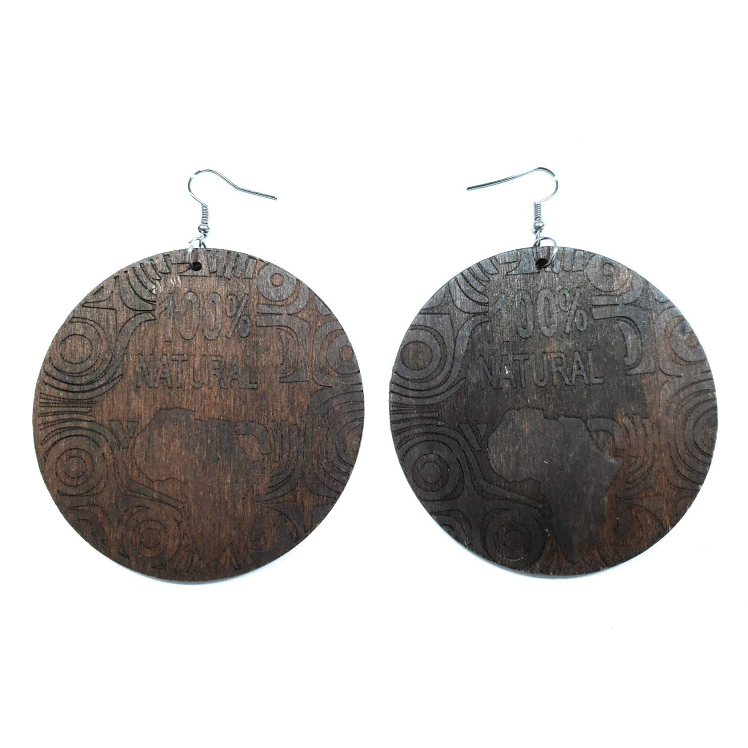 Teris Boutique 100/% Natural African American Light Weight Big Round Dangle Fashion Jewelry Earrings