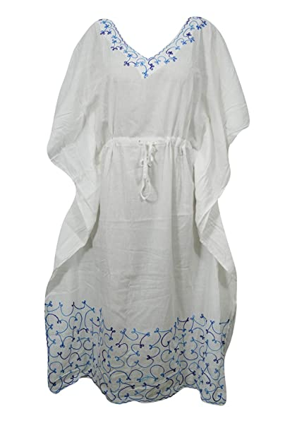 c14dceadf8 Image Unavailable. Image not available for. Color  Mogul Interior Womens  Caftan Dress White Drawstring Embroidered Cover Up Kaftan L