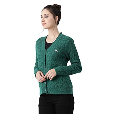 Buy Monte Carlo Green Solid Wool Blend V Neck Cardigan (Size