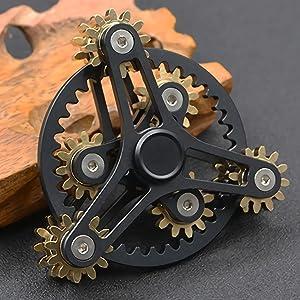 Pure Brass Fidget Spinner Gears Linkage Fidget Gyro Toy Metal DIY Hand Spinner Spins Long Time EDC Focus Meditation Break Bad Habits ADHD with Multiple Premium Bearings (13 Bearings Black)