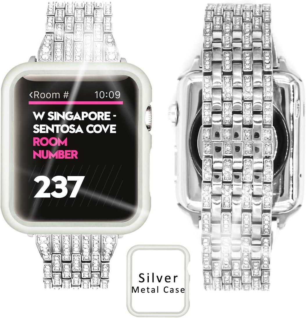 Ezzdo Apple Watch Diamond Band 40mm Series 5/4, Rhinestone Luxury Diamond Stainless Steel Replacement Bands with Case for Apple Watch 40mm Series 5/4 (Silver, 40mm)