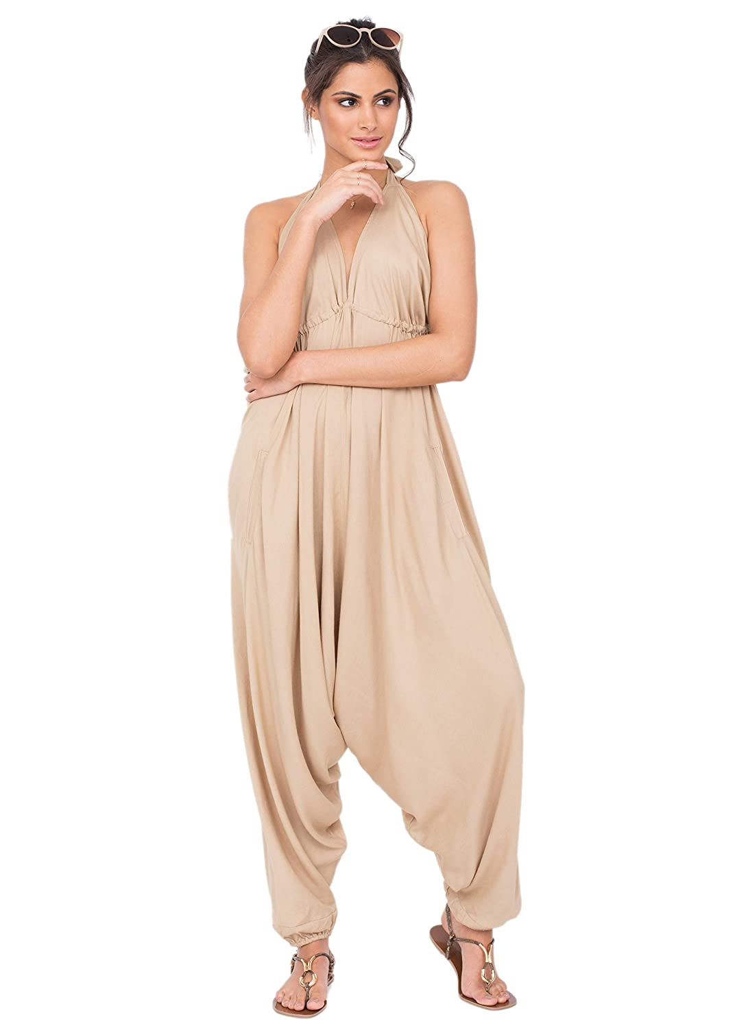 a40365fa6a40 Amazon.com  likemary Harem Jumpsuit Halter Hareem Holiday Romper for Women  Biscuit Beige  Clothing