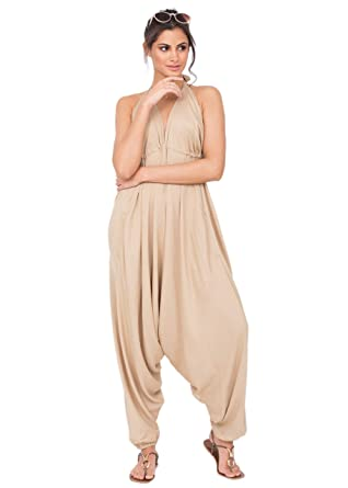 1f2e0a3d5e6 Amazon.com  likemary Harem Jumpsuit Halter Hareem Holiday Romper for Women  Biscuit Beige  Clothing