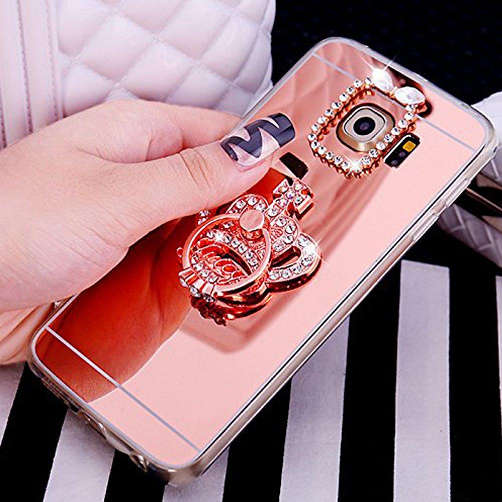 Coque Samsung Galaxy S5, Housse É tui Samsung Galaxy S5, Ysimee Luxe Ultra Mince É lé gant Cristal Diamant Brillant Placage Miroir Coque pour Samsung Galaxy S5 É tui de Té lé phone protection avec Porte-anneau Couv