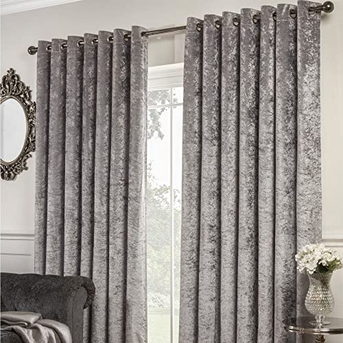 Tony s Textiles Crushed Velvet Self-Lined Blackout Grommet Curtains – Silver Grey – 90 Wide x 90 Drop