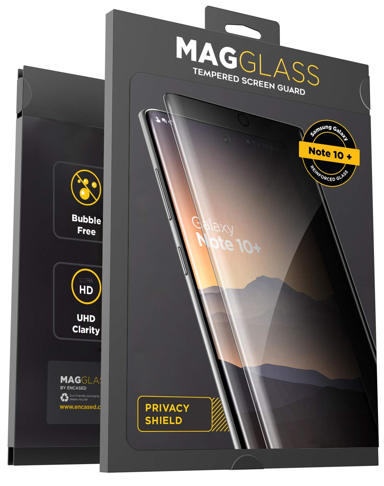 Magglass Galaxy Note 10 Plus Privacy Screen Protector - Anti Spy Fingerprint Resistant Tempered Glass Guard for Samsung Note 10+ (Case Compatible)