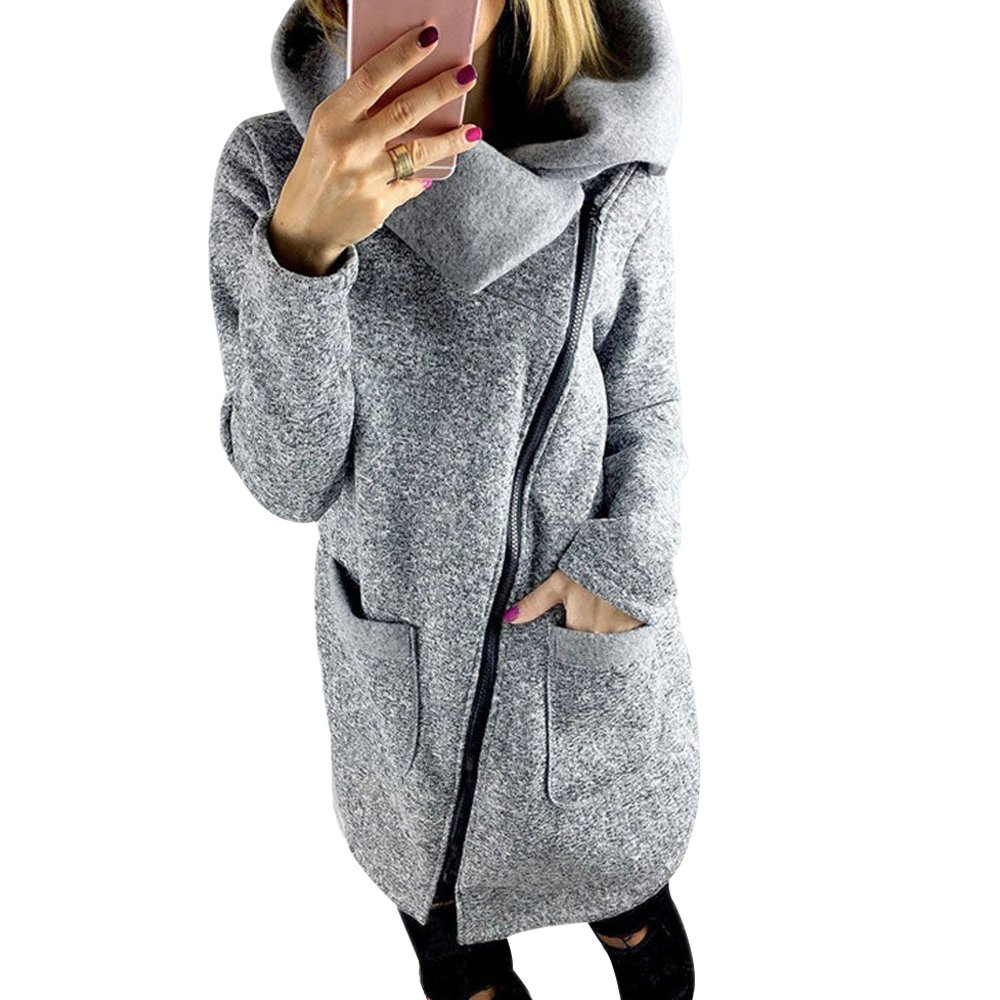 FANTIGO Women's Fashion Long Sleeve Coat Oblique Zipper Sweatshirt Gray XXL by FANTIGO