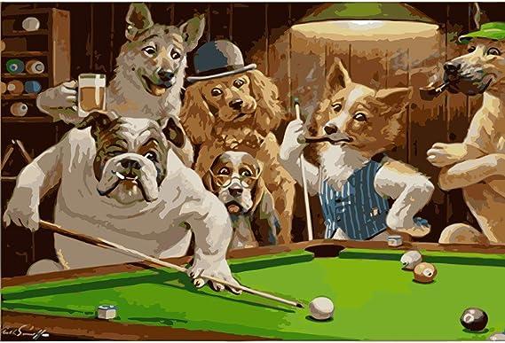 tytuoling DIY Pintura por Números Mr. Dog Jugando Billar Pintura ...