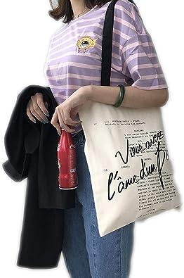 Bolso de lona para mujer, estampado de letras, bolsa de tela de ...