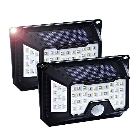 Fityou Solar Luces Exterior 66 LED, 1810lm Foco Solar, Gran Angular de Iluminación de