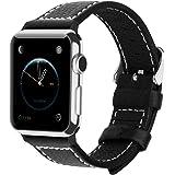 Apple Watch Armband 42mm, Fullmosa® Grobe Litschibeschaffenheit Hauptschicht Rindsleder Uhrenarmband Ersatz-Armband mit Edelstahlschließe für Apple Watch Series 0 Series 1 Series 2, Schwarz