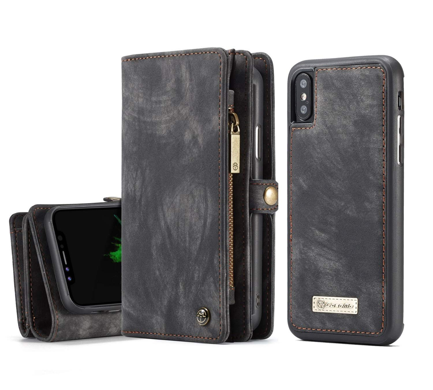 new concept ac5cf 887cb iPhone X/XS Wallet Case - MOONORN Premium Leather Zipper Purse Detachable  Magnetic Flip Case iPhone X/XS Shockproof Cell Phone Case with Credit Card  ...