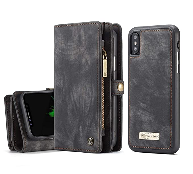 56d3dba8218c MOONORN iPhone Xs Max Wallet Case - Detachable Leather Phone Wallet  Magnetic Flip Case Shockproof Cell Phone Case with Credit Card Slots (Black)