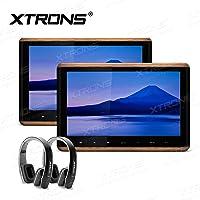 XTRONS 2 x 10.2 Inch Pair HD Digital TFT Screen Touch Panel HDMI Video Car Active Headrest DVD Player New Version Black IR Headphones