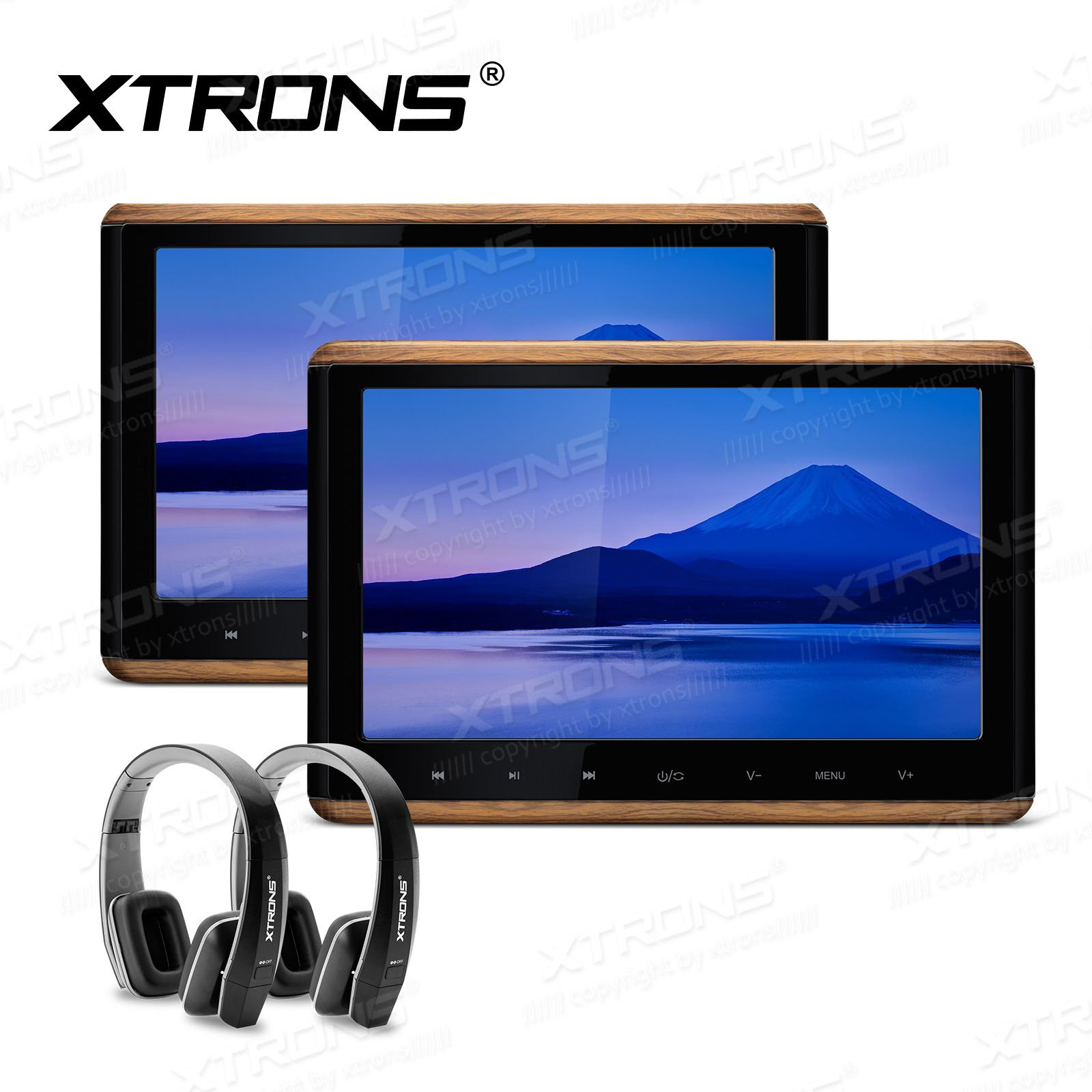 XTRONS 2 x 10.2 Inch Pair HD Digital TFT Screen Touch Panel 1080P Video Car Active Headrest DVD Player New Version Black IR Headphones by XTRONS