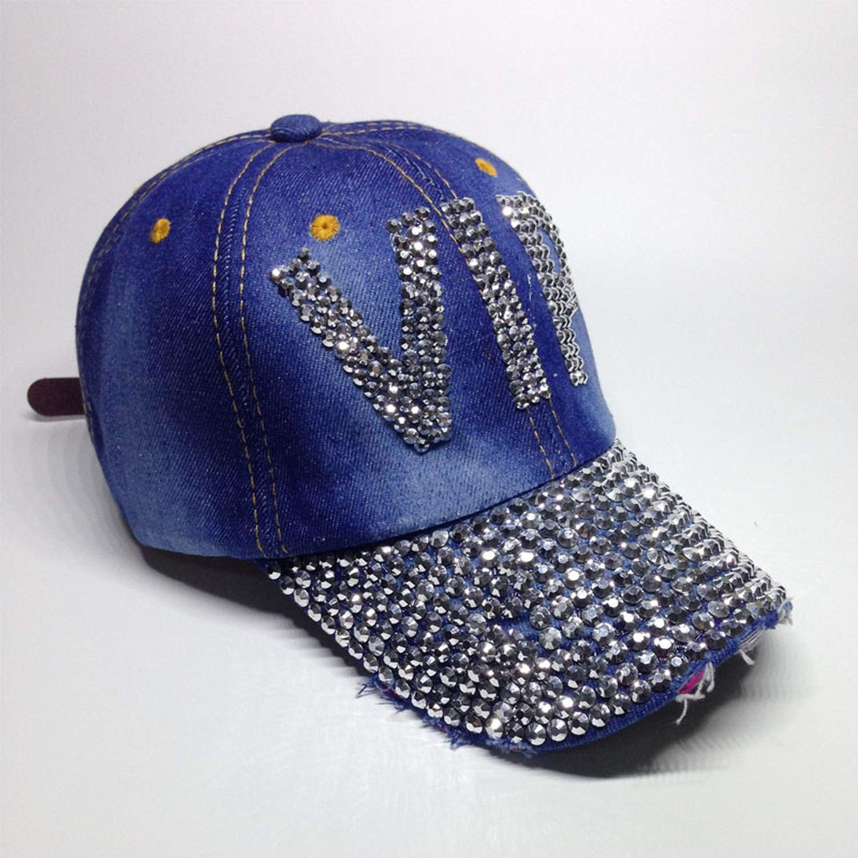 Zipok Casual Fashion Jean Hat for Women Denim Baseball Cap Rhinestones Hat Lady Jean Caps Baseball Hat