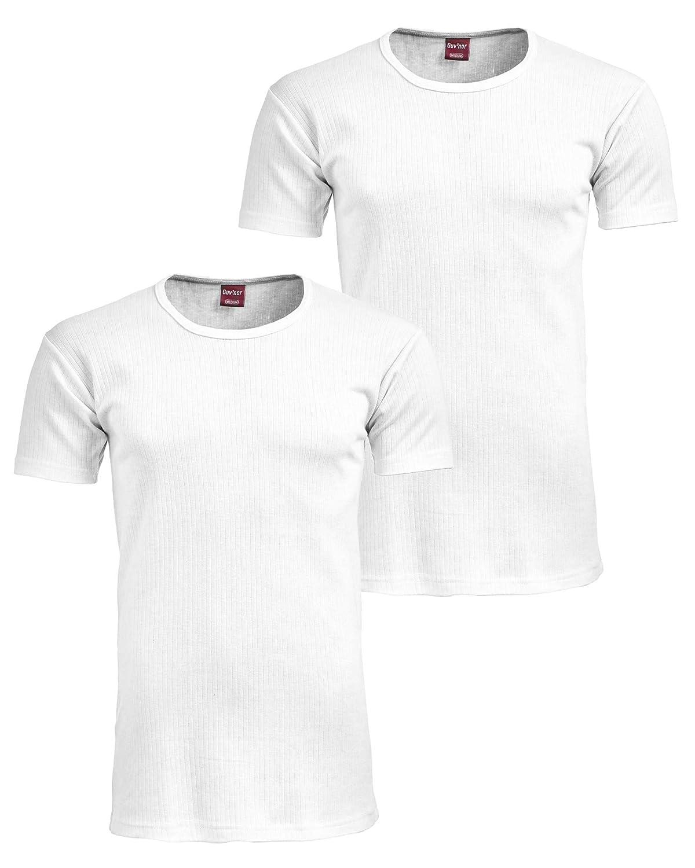 2 Pack Mens Thermal Top Short Sleeve Heavy Duty Fabric Winter Underwear Top