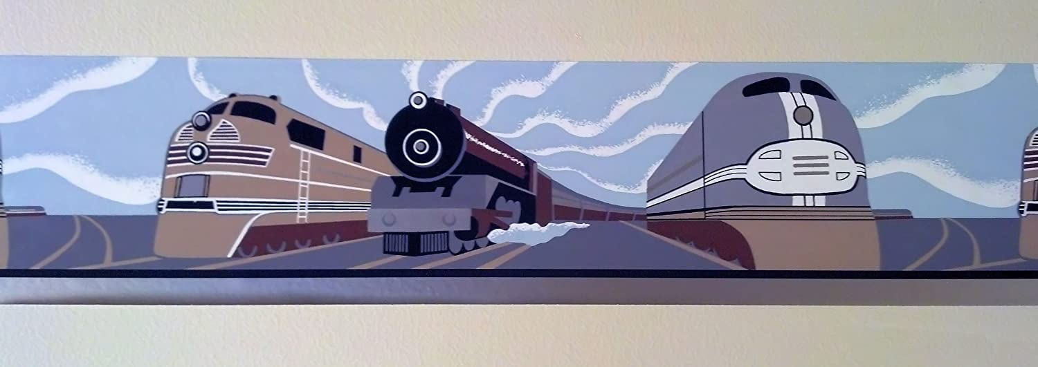 Contemporary Multiple Train Engines in Art Deco Style Wallpaper Border AC030141B