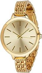 SIX Elegante goldene Damen Uhr mit schmalem Metall Gliederarmband in hochwertiger Geschenkbox mit Schleife (274-341)