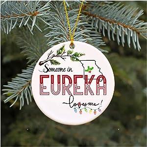 "Christmas Ornaments 2019 Family Someone In Eureka Missouri Loves Me MO Xmas Gifts Cute Owl Family Keepsake Present Xmas Present Mom Dad Wife Husband Ceramic 3"" Flat Circle"