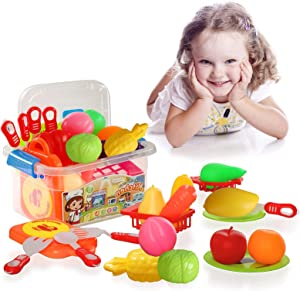 GTVERNH Play Food Sets for Kids Kitchen Pretend Food Play Kitchen for Toddlers Fruit Vegetables Fun Playset Kitchen Accessories Early Educational Toys Gift for 3+ Years Old Boys and Girls (19 PCS)