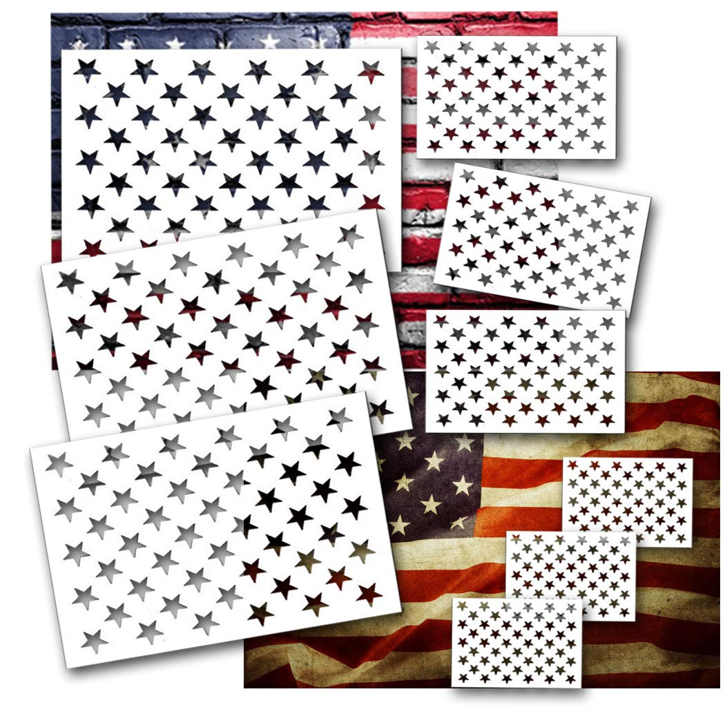 Star Stencil American Flag Star Stencil 50 Stars 9pcs Plastic Leaflai for Painting on Wood/DIY Drawing Painting Craft Projects/Fabric/Airbrush/Reusable Stencil 3 Large 3 Medium 3 Small by Leaflai