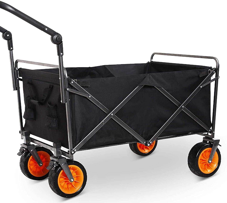 Carro De Vagón Plegable, Carro Utilitario Plegable con Rueda De Playa Todo Terreno, para Jardín/Camping/Barbacoa/Jardinería,Negro